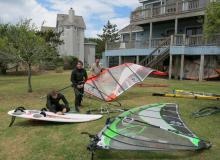 1 Rigging gear upon arrival at windsurfing house in Nags Head