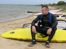 11 Marcel resting on his new board