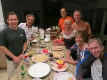 12 Alain prepares crepes - Alain, Mel, Jim, Barrett & Peggy, Alice, Randy