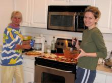 Peggy & Blanka prepare home cooked pizzas as gale force winds rock our house