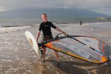 Barrett launching at Kihei on South Kona Wind