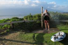 Freshwater shower at windsurfing launch