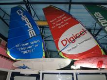 2 Windsurfers hanging in the airport terminal
