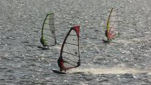 31 View of windsurfers from deck