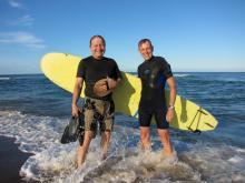 32 Ted & Barrett enjoying ocean surf