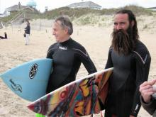 Surfing Contestants grinning as Northeaster brings waves.