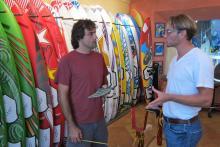 Evan ordering custom fins at Maui Fin Co