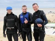 Adam, Marcel & Barrett ready sail in gale force winds