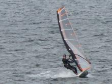 Barrett cruising on a 100 liter board with a 7.0 meter sail.