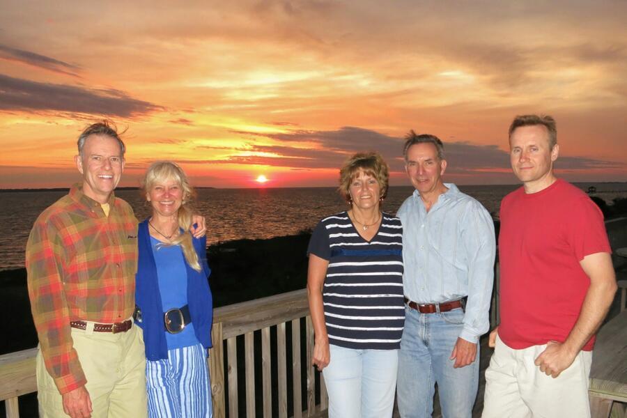 16 Sunset from deck, Barrett & Peggy, Mel & Alice, Marcel