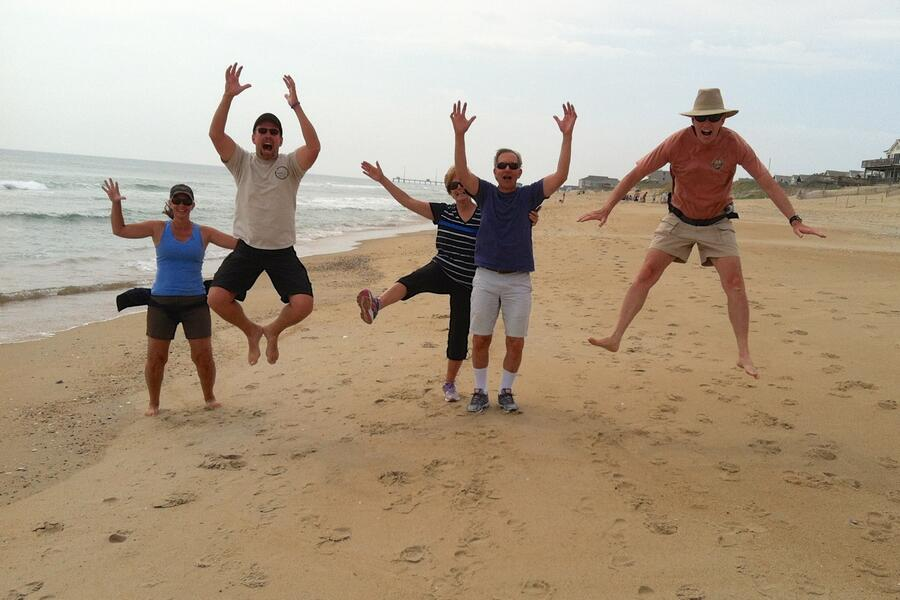 35 Jumping on beach (photo by Ted)