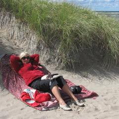 5 Peggy sheltering behind a sand dune