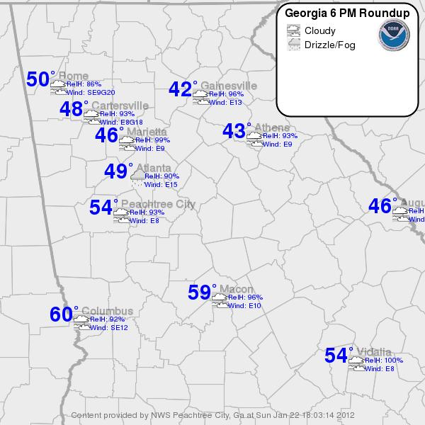 Wedge: Note the temperature differences between northeast Georgia, say Lake Lanier and west central Georgia, say West Point Lake of almost 20 degrees F.
